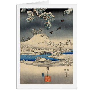 雪景色に雀, 広重 Sparrows in Snow Landscape, Hiroshige Card