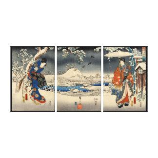 雪景色の恋人, 豊国  Lovers in The Snow Scene, Toyokuni Canvas Print