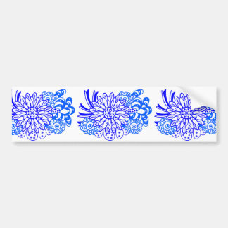 青い華やかな花 Blue ornate flowers Bumper Sticker