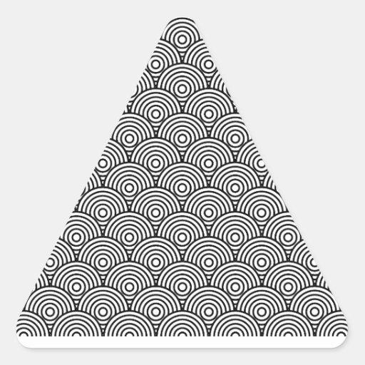 青海波風(黒色) 三角形シール・ステッカー