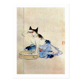 顔を洗う猫, 広重 Cat Face Wash, Hiroshige Postcard