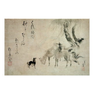 馬の家族, 北斎 Family of The Horse, Hokusai, Sumi-e Poster