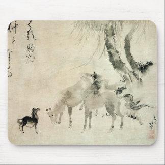 馬 家族 北斎 Family of The Horse Hokusai Sumi-e Mousepad