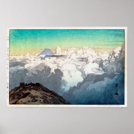 駒ヶ岳山頂, Peak of Komagatake, Yoshida, Woodcut Poster