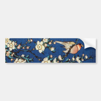 鳥と枝垂桜, 北斎 Bird and Weeping Cherry Tree, Hokusai Bumper Sticker