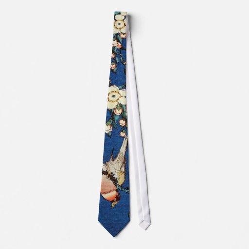 鳥と枝垂桜, 北斎 Bird and Weeping Cherry Tree, Hokusai Tie