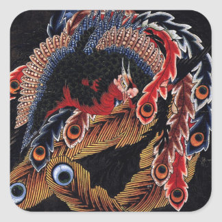 鳳凰図, 北斎 Chinese Phoenix, Hokusai, Art Square Sticker