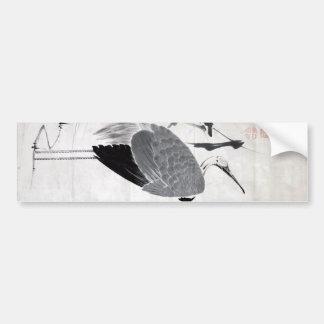 鶴図, 若冲  Crane, Jakuchu, Japan Art Bumper Sticker