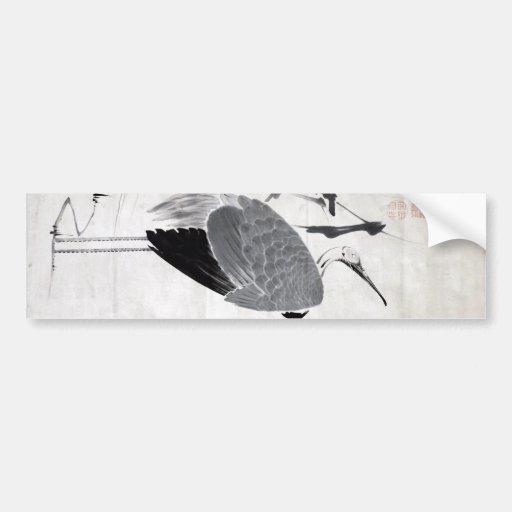 鶴図, 若冲  Crane, Jakuchu, Japan Art Bumper Stickers