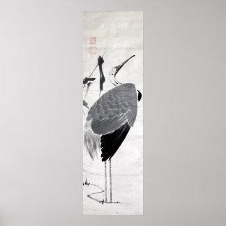 鶴図, 若冲  Crane, Jakuchu, Japan Art Poster