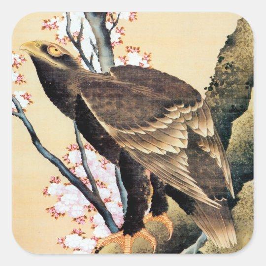 鷲と桜, 北斎 Eagle and Cherry Blossoms, Hokusai Square