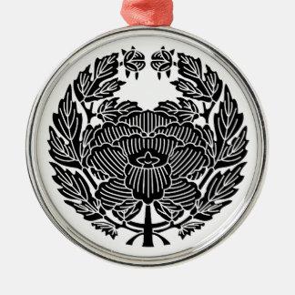 鷹 Osamu peony (research of fixed crest) Silver-Colored Round Decoration