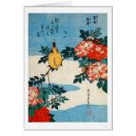 黄鳥と薔薇, 北斎 Yellow Bird and Rose, Hokusai, Ukiyo-e Greeting Card