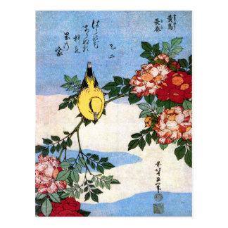 黄鳥長春 Nightingale 葛飾北斎 Hokusai Post Card