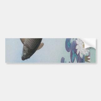 黒鯉, 古邨 Black Carp, Koson, Ukiyo-e Bumper Sticker