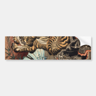 龍虎, 国芳 Tiger & Dragon, Kuniyoshi, Ukiyo-e Bumper Sticker