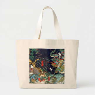 龍虎, 豊国 Dragon & Tiger, Toyokuni, Ukiyo-e Large Tote Bag