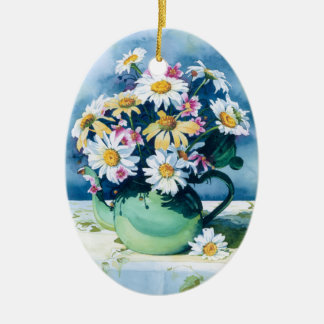 0006 Daisies in Green Teapot Ornament