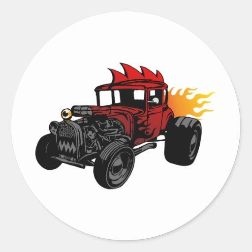 00073 Hot Rod Round Sticker