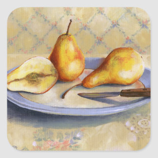 0012 Pears on Platter Square Sticker