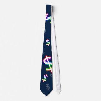 (001:12) Colorful Glowing Dollars - Dark Blue Tie