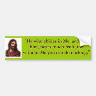 """00221917eae80c7ec17f55, """"He who abides in Me, a... Bumper Sticker"""