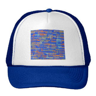 002 BASEBALL WORDS HIT PITCHER ON-DECK THIRD BASE TRUCKER HAT