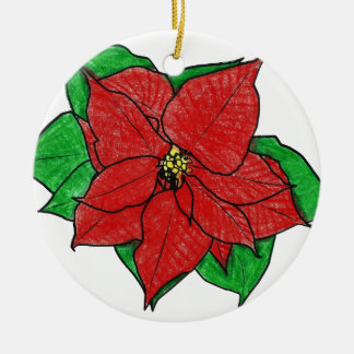 0043 Poinsettia No 1.png Round Ceramic Decoration