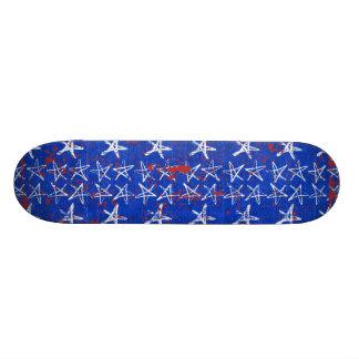 004 ROYAL BRIGHT BLUE WHITE SKETCH STARS RED SPATT CUSTOM SKATEBOARD