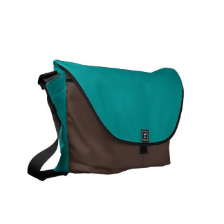 009999 Turquoise Solid Color Background Template Messenger Bags
