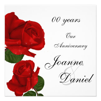 00 Anniversary Invite White Red Rose Flowers Custom Invites