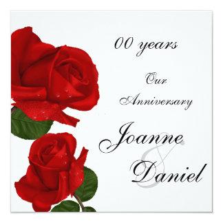 "00 Anniversary Invite White Red Rose Flowers 5.25"" Square Invitation Card"