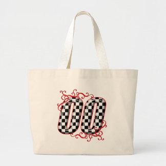 00 checkered flag number jumbo tote bag