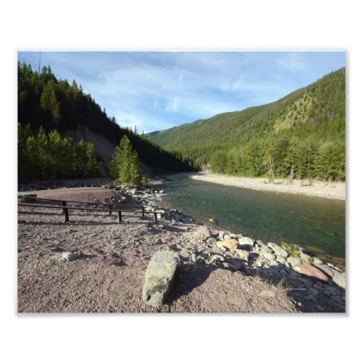 0196 8/12 Mountain river outside of Glacier Park Photo Print