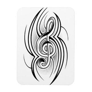 028 BLACK WHITE TREBLE CLEF TATTOO VECTOR DESIGN M FLEXIBLE MAGNET