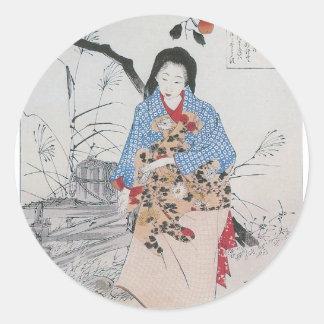 028 - Lady Chiyo and The Broken Water Bucket.jpg Round Sticker