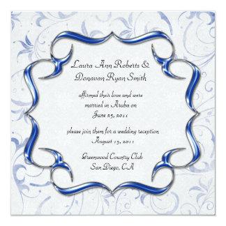 02 Ornate Bright Royal Blue Silver Post Wedding 13 Cm X 13 Cm Square Invitation Card