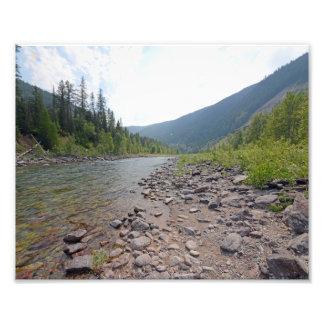 0374 8/12 Eagle Falls river in Glacier Park. Art Photo