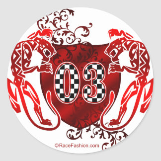 03 auto racing number tigers round sticker