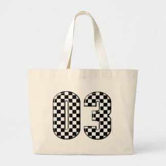 03 checkered auto racing number tote bags