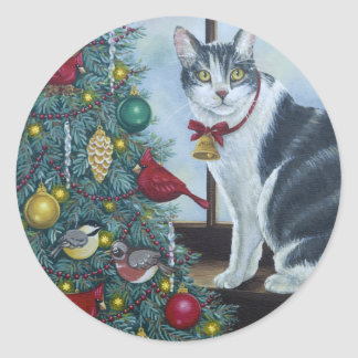 0417 Christmas Cat Round Sticker