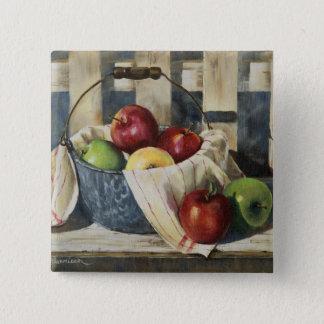 0449 Apples in Enamelware Pail 15 Cm Square Badge