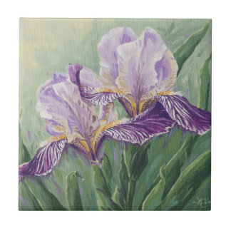 0455 Purple Irises Small Square Tile