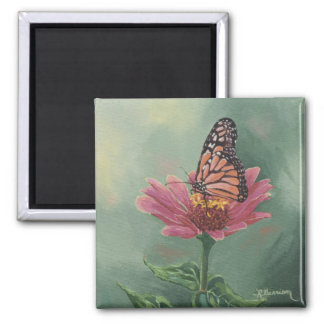 0465 Monarch Butterfly on Zinnia Square Magnet