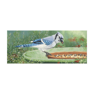 0481 Blue Jay at Feeder Wrapped Canvas Print