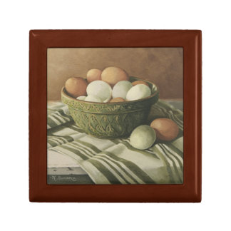 0497 Eggs in Antique Green Bowl Keepsake Box