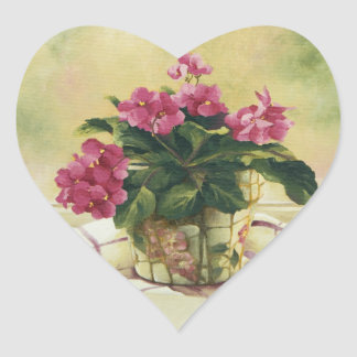 0511 African Violets in Mosaic Planter Heart Sticker