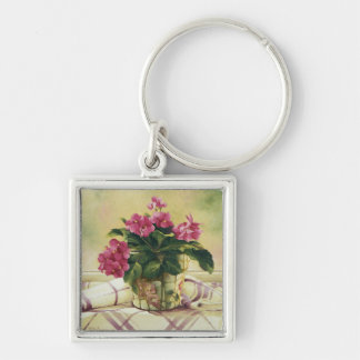 0511 African Violets in Mosaic Planter Silver-Colored Square Key Ring