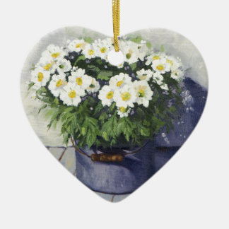 0522 White Mums in Enamelware Pot Christmas Ornament