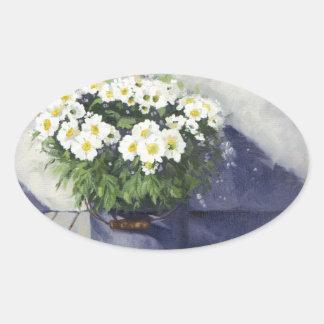 0522 White Mums in Enamelware Pot Oval Sticker